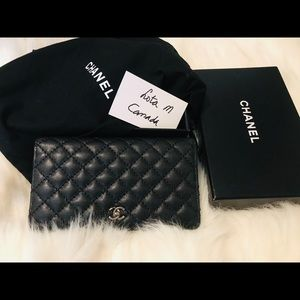Authentic Chanel Caviar quilted long wallet